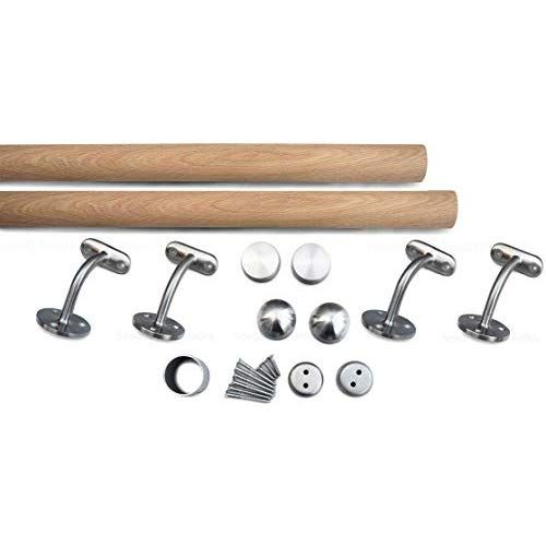 Best Solid Oak Wood Brushed Stainless Steel Stair Handrail 640 x 480
