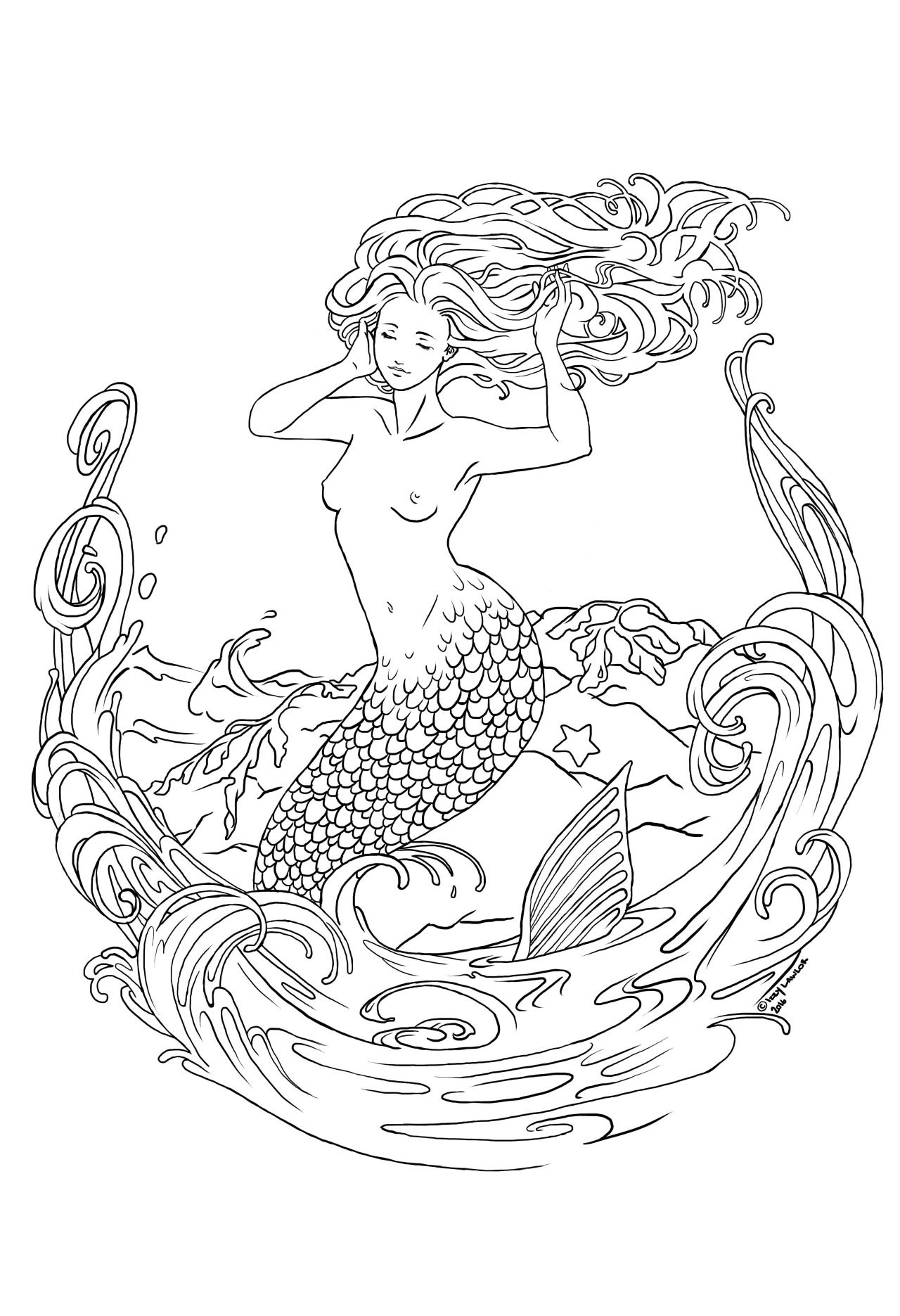 "My new mermaid drawing ""La Sirena"" Done in Sketchbook Pro"