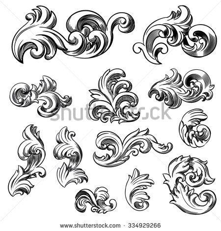 set of vector vintage baroque engraving floral scroll filigree design hand drawn illustration