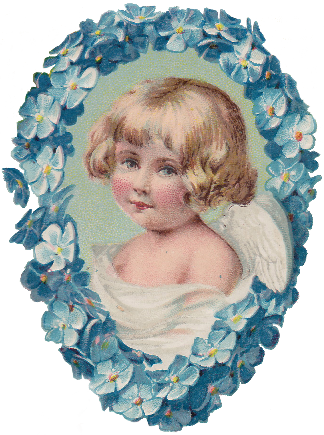 Wings of Whimsy: Blue Cherub Portrait - png file (transparent background) free for personal use #vintage #edwardian #victorian