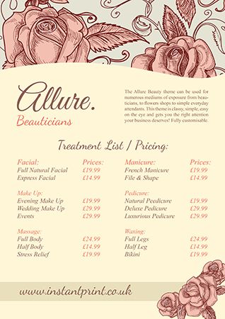 A3 flyer design - Allure Price List (available to personalise on - sample price list