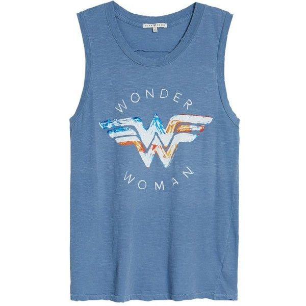 6ed37277 Women's Junk Food Wonder Woman Muscle Tee ($35) ❤ liked on Polyvore  featuring tops, graphic print top, ripped tops, comic book, junk food  clothing and ...