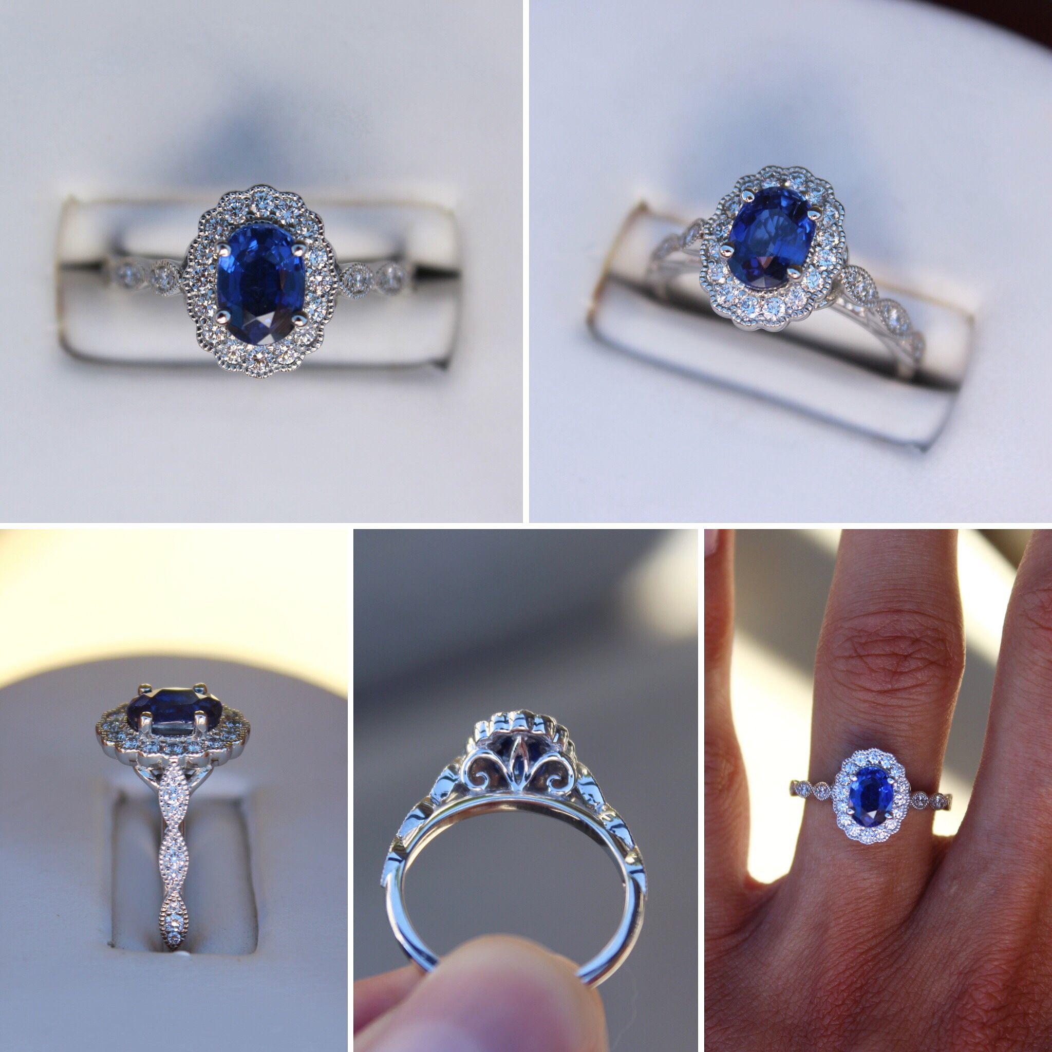 1 Carat Oval Sapphire Diamond Scalloped Halo Vintage Style Ring Gold Diamond Wedding Band Engagement Rings Sapphire Engagement Ring White Gold