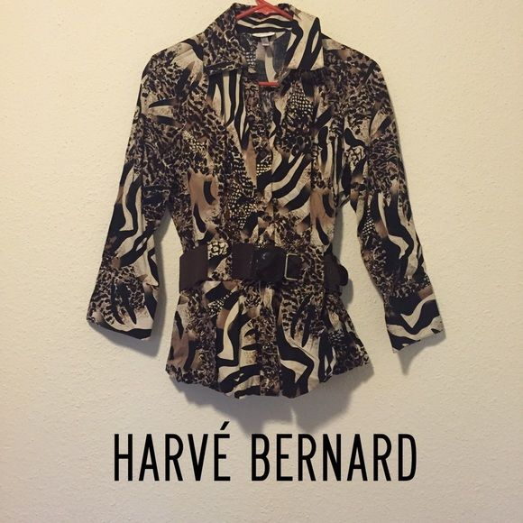 Harvé Bernard Button-up Top w/ Belt Included Amazing Harvé Bernard button up leopard print top, comes with belt included. Such a classy and trendy piece! Harve Benard Tops Button Down Shirts