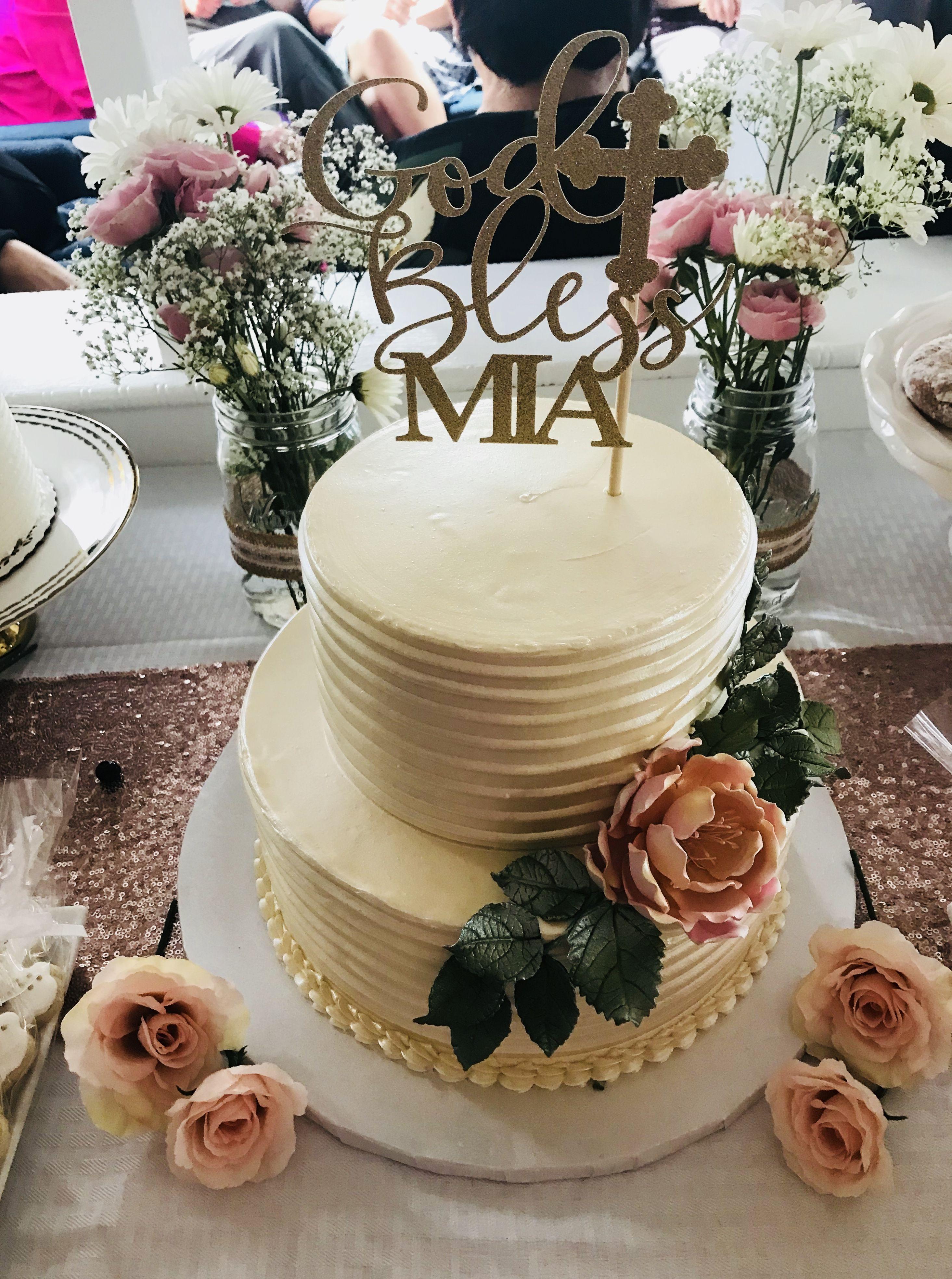 1st communion cake. Buttercream Frosting. Sugar flower Cake