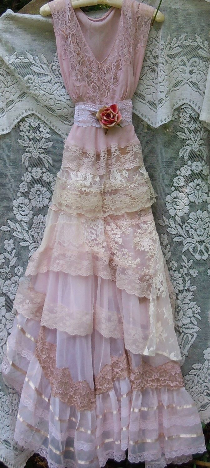 Blush wedding dress lace tulle embroidery boho vintage bride outdoor