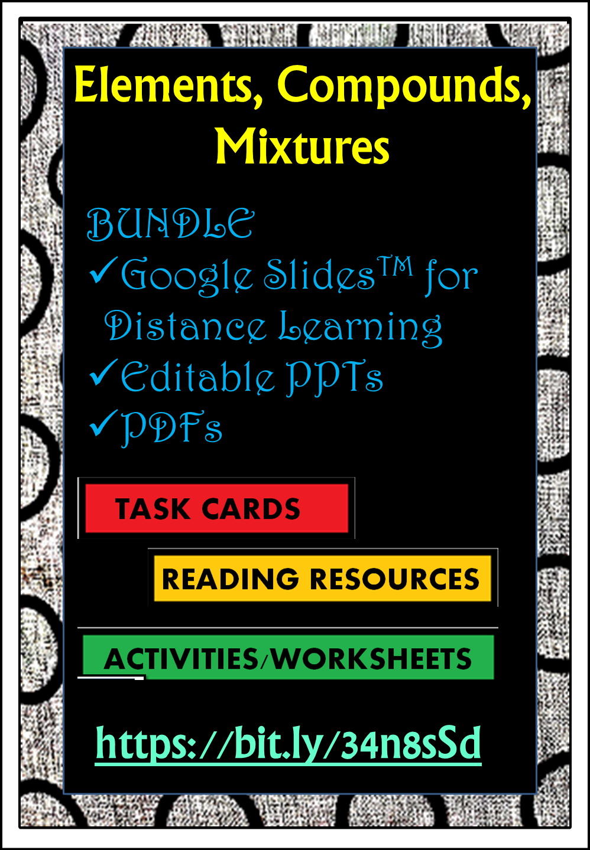 Elements Compounds Mixtures Bundle Google Slidestm Editable Ppt Pdf Reading Task Cards Reading Resources Compounds And Mixtures [ 1440 x 998 Pixel ]