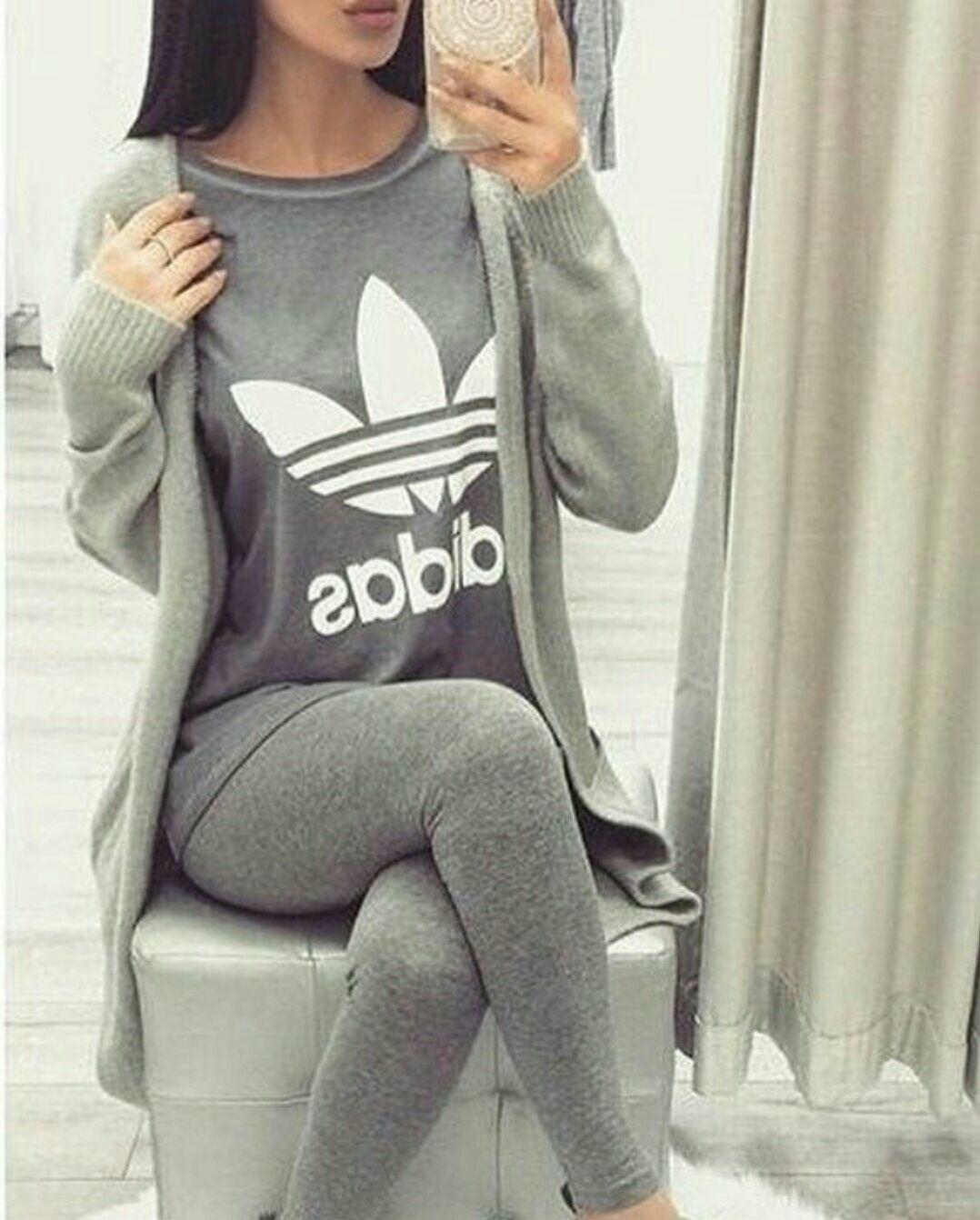 quality design c5e7e 58176 All grey outfit   gray Adidas t-shirt, leggings and long cardigan