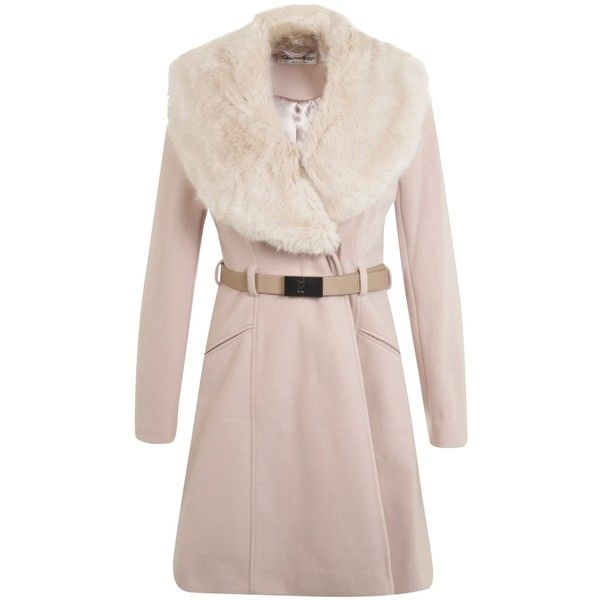 Miss Selfridge Faux Fur Collar Coat, Nude (£89) ❤ liked on Polyvore featuring outerwear, coats, long sleeve coat, miss selfridge, knee length coat, pink coat and faux fur collar coat