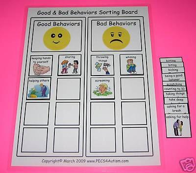 Good Bad Behaviors Sort Board Aba Autism Pecs Speech Pecs Autism Aba Autism Autism Behavior Chart
