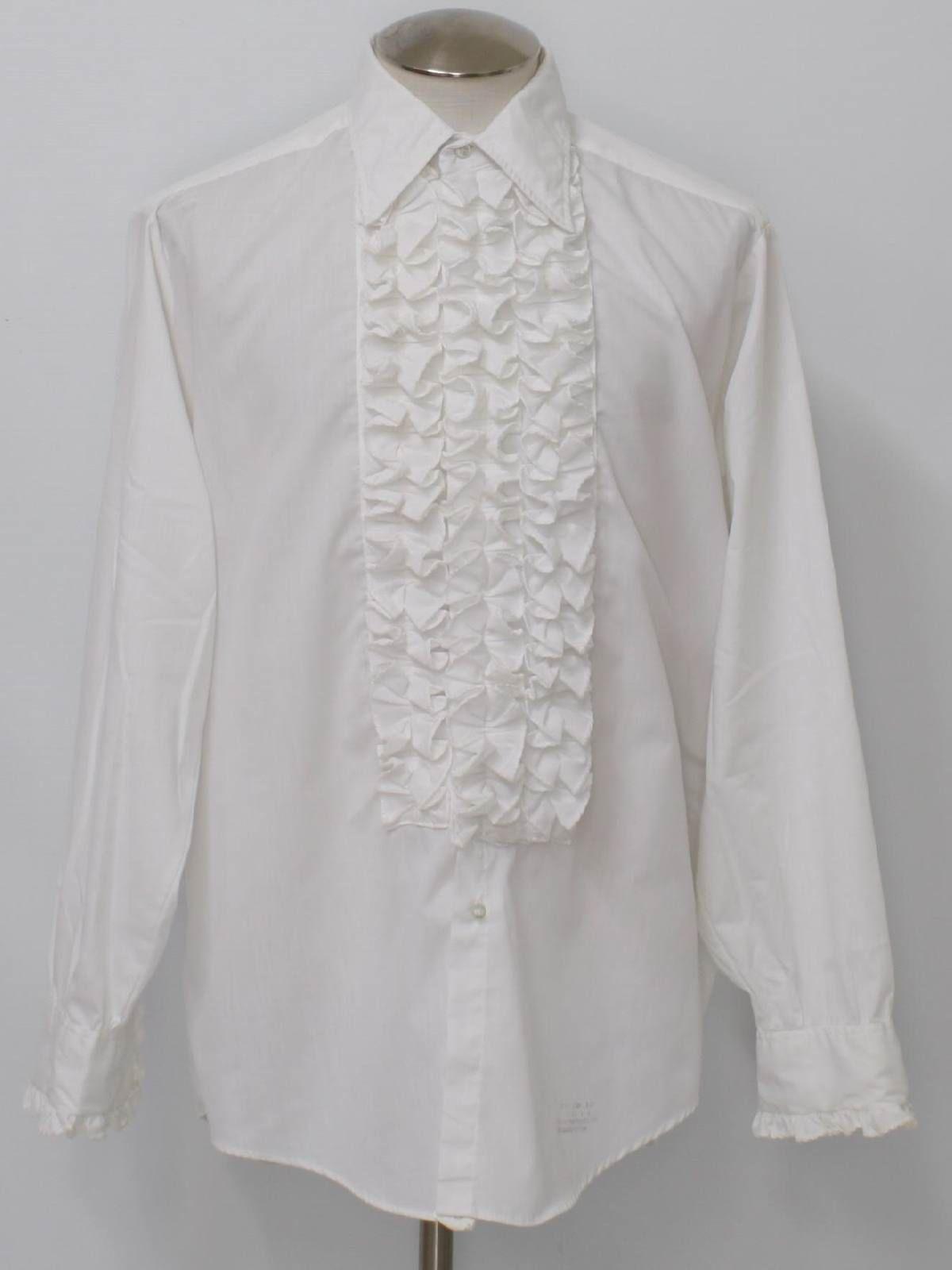 Rustyzipper Com Vintage Clothing Mens White Dress Shirt Ruffled Dress Shirt White Ruffle Dress