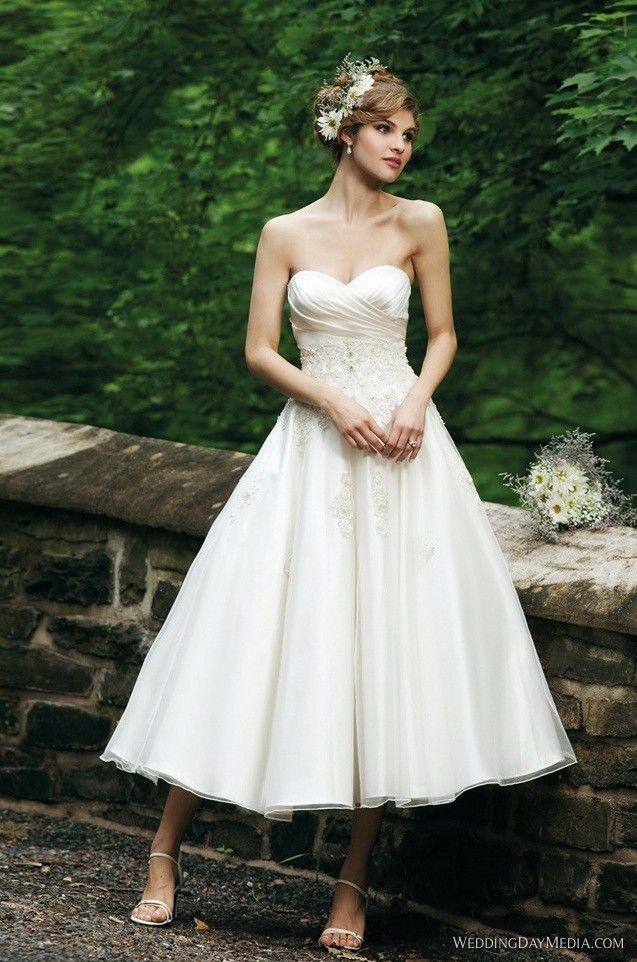 Tea Length Wedding Dresses with Ruffles