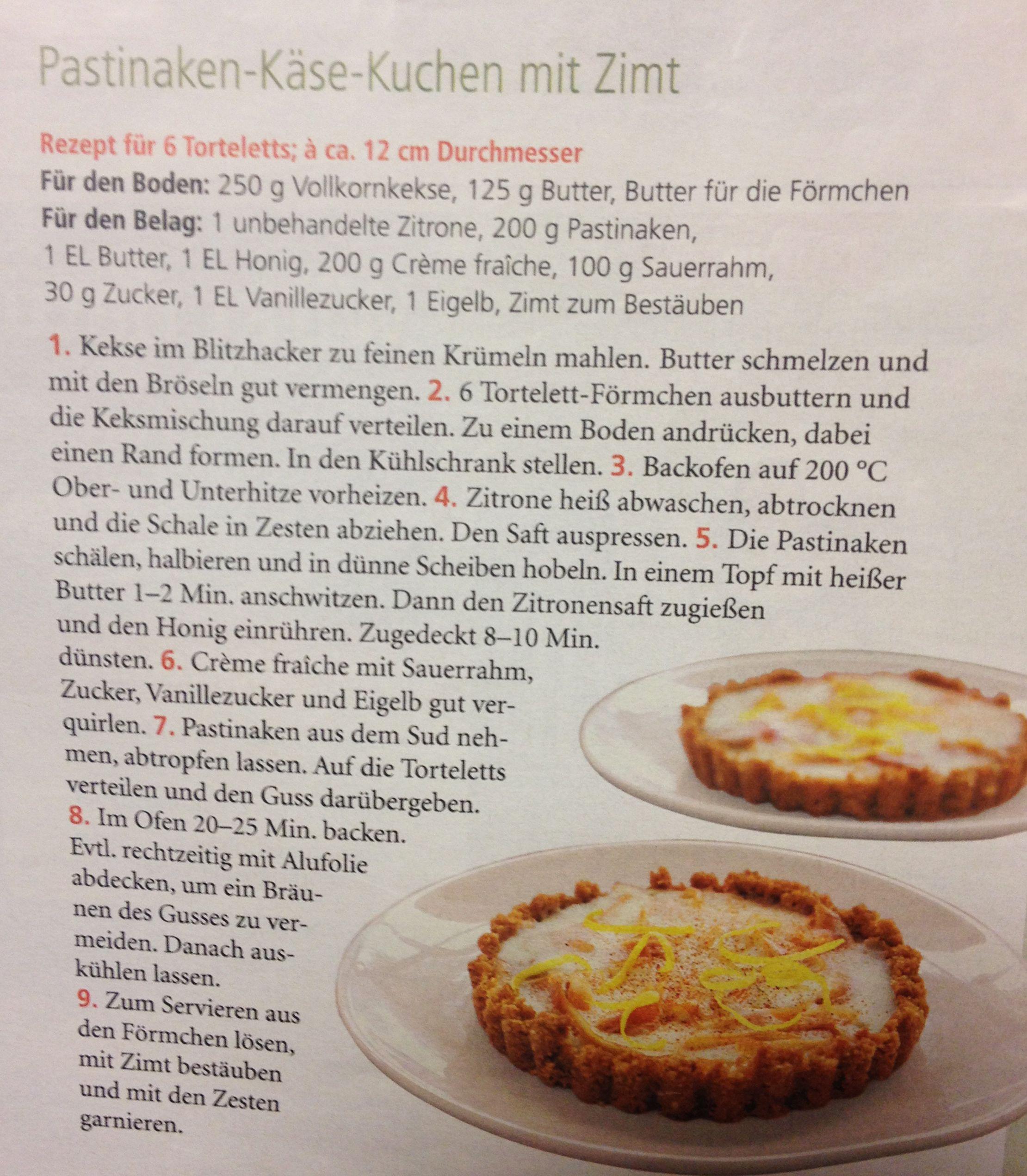Pastinaken-Käse-Kuchen mit Zimt aus der Zeitschrift \