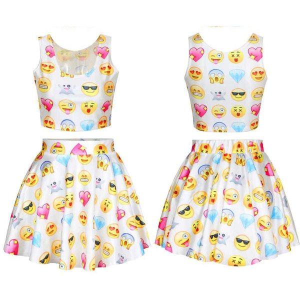 Chic Emoji shirt crop fashion emoji skirt set ladies blouse girls... ($35