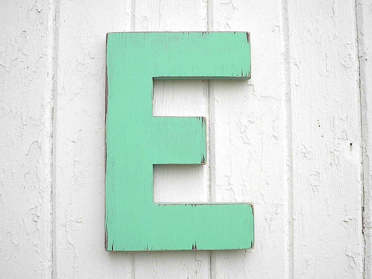 wooden letters e 12 inch distressed green big shabby chic rustic letter kids wall art wedding gift dorm decor signs