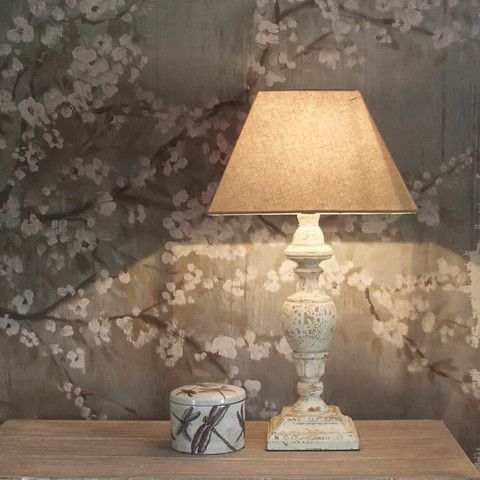Antique White Distressed Table Lamp And Shade Table Lamps