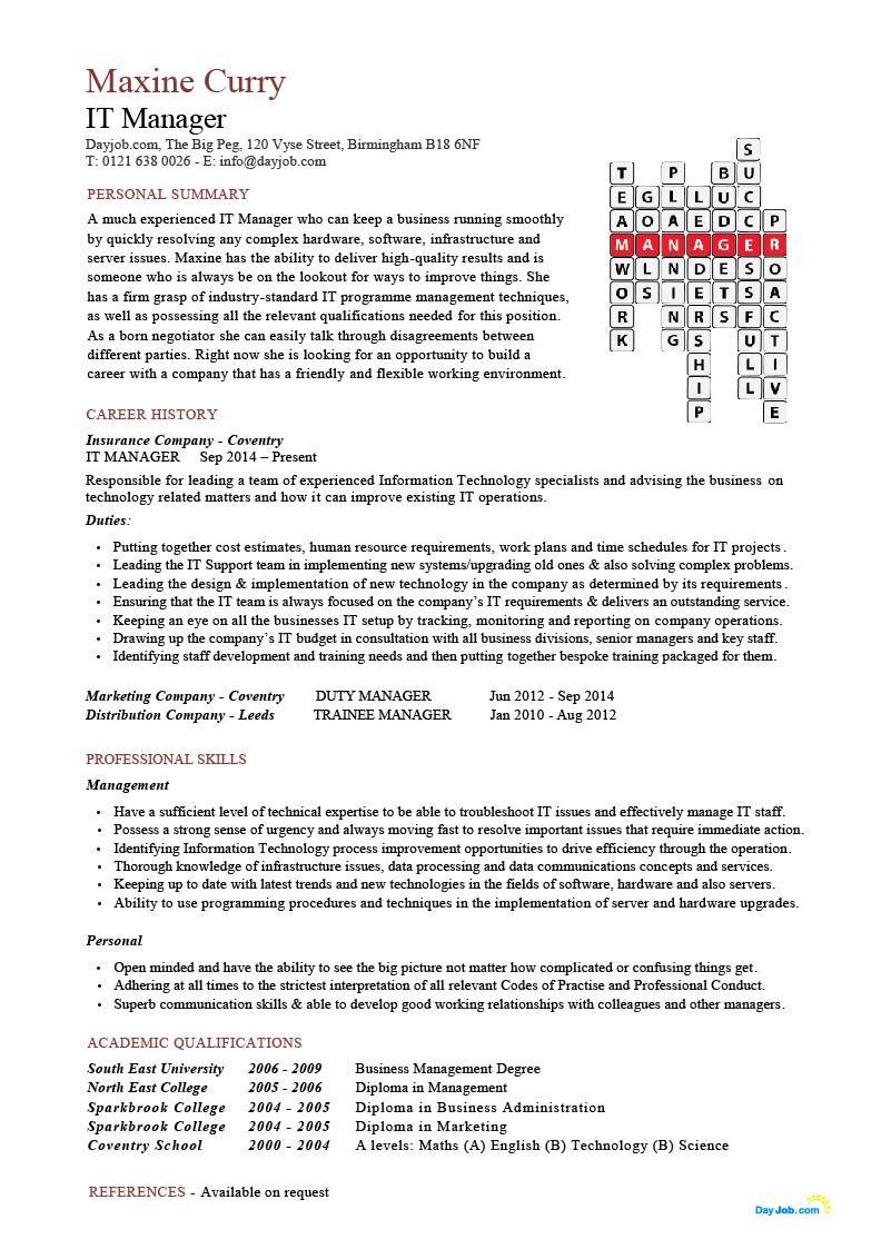 It Manager Cv Sample Medical Assistant Resume Teacher Resume