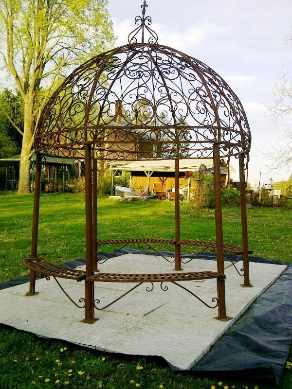 Grand Wrought Iron Gazebo With Seat And It Really Does Not Get Any Better Than This Sitting In Your Garden Enjoying Flowers Climbing Ivy