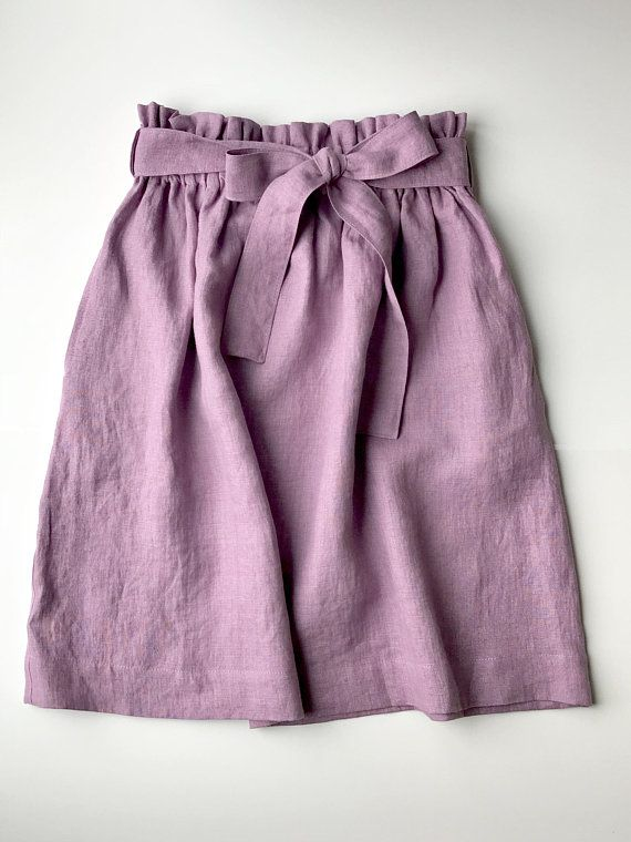 Linen skirt MIDI purple-skirt with tie ribbon belt deep pockets-comfortable skirt wide elastic waistband-spring summer prewashed linen skirt