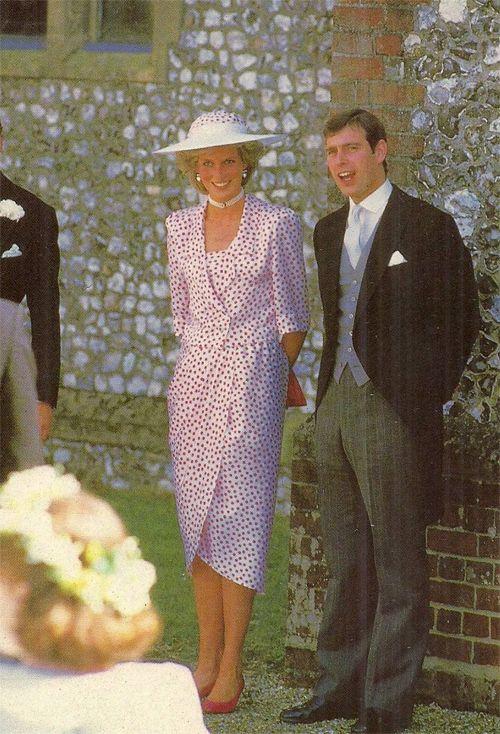 1146-July 20, 1985: Princess Diana and Prince Andrew at the wedding of Hon. Carolyn Hebert to John Warren at Highclere, Berkshire