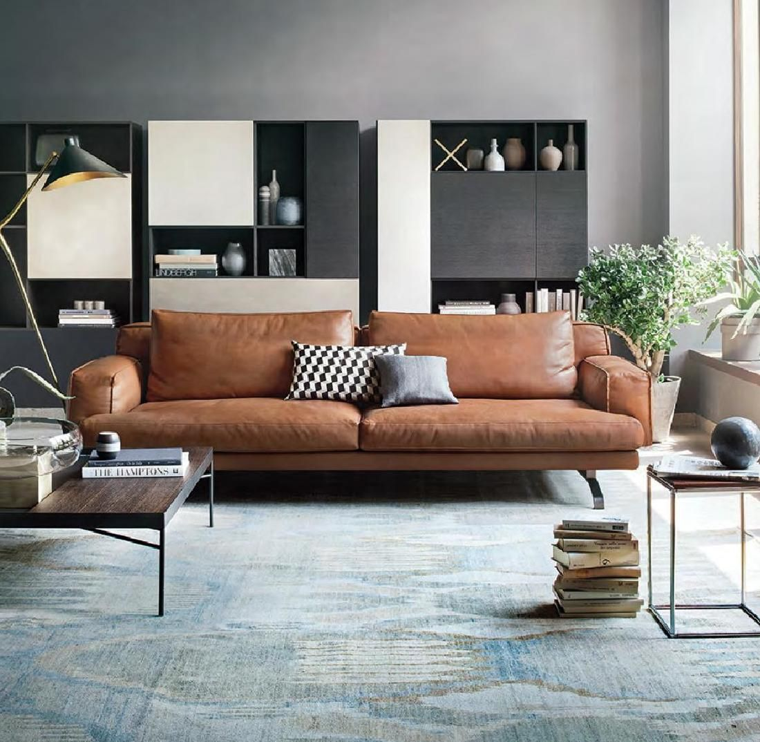 the masculine living room with grey sofas and stylish furnishings   ID. Interior Design #62 (december january'14-15)   +decor+ ...