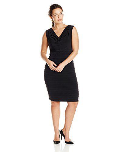f7af5d89 T14 W $78 London Times Women's Plus-Size Cowl Neck Shutter Dress, Black,