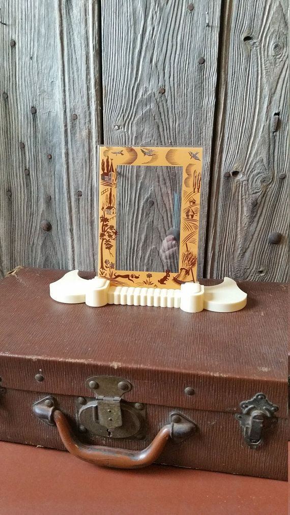 French Vintage 1930s Art Deco Glass And Bakelite Photo Or