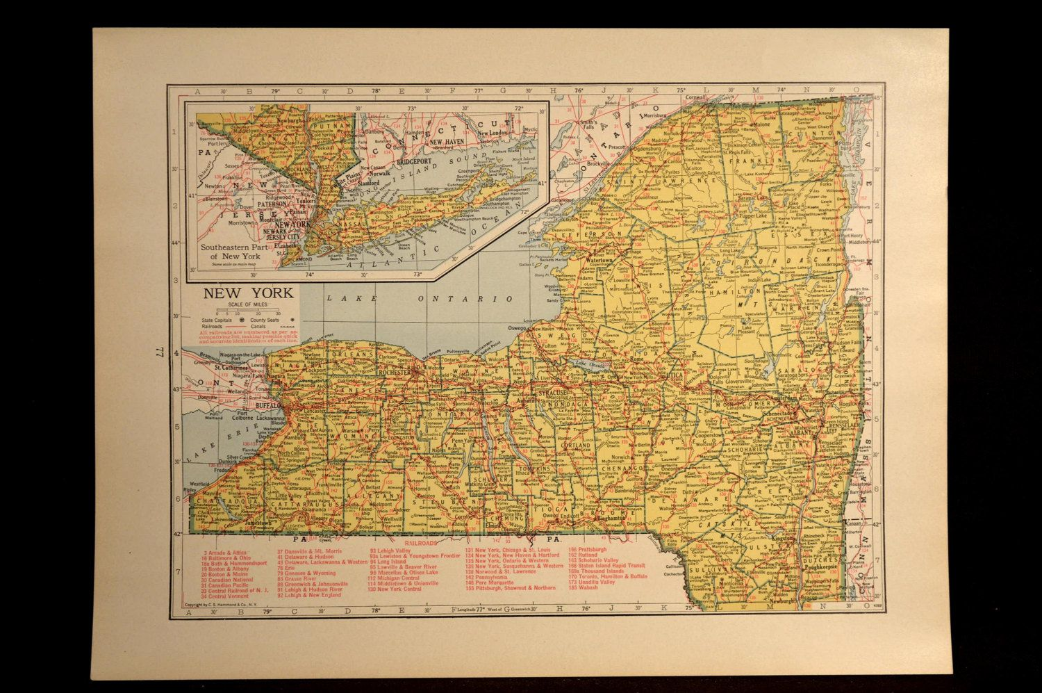 New York Map New York Vintage Railroad 1940s Yellow Original Maps