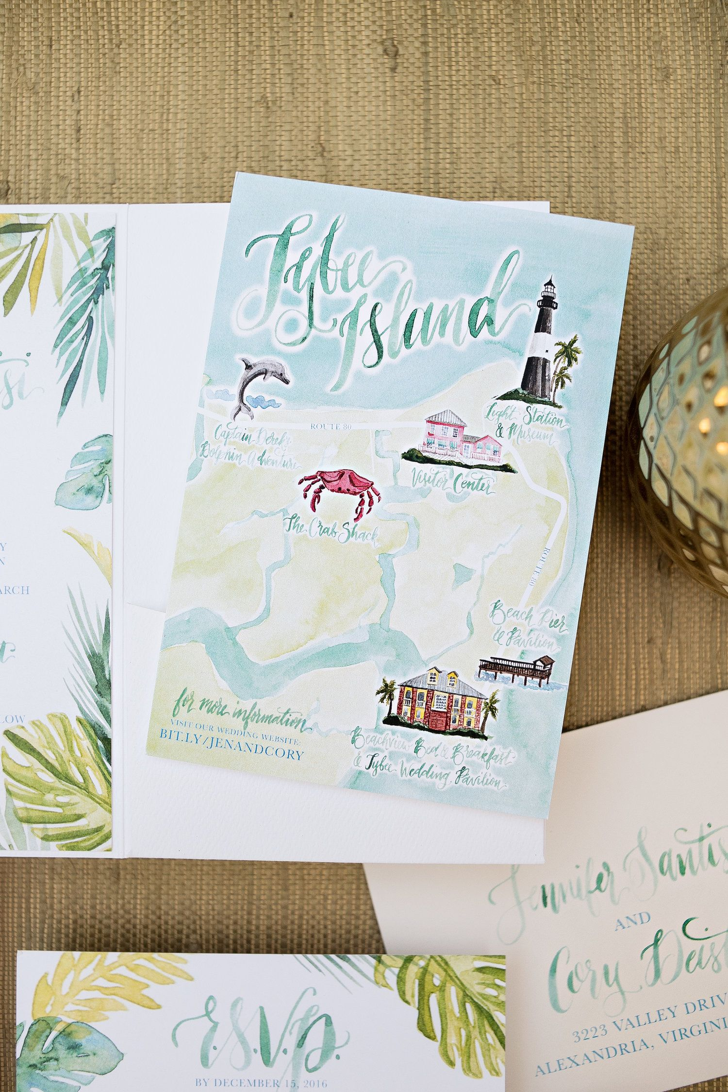 Watercolor Wedding Map Tropical Watercolor Wedding Invitation
