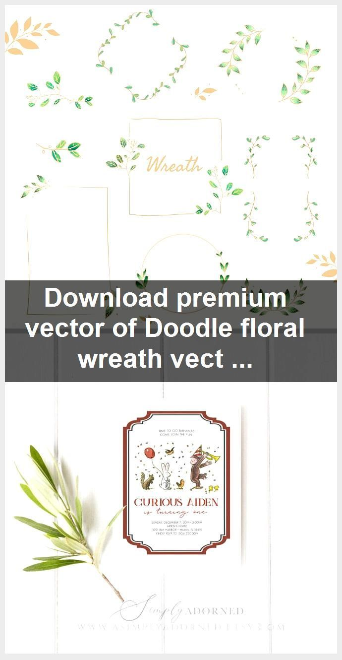 Photo of Download premium vector of Doodle floral wreath vector collection 843829, #Collection #doodl …