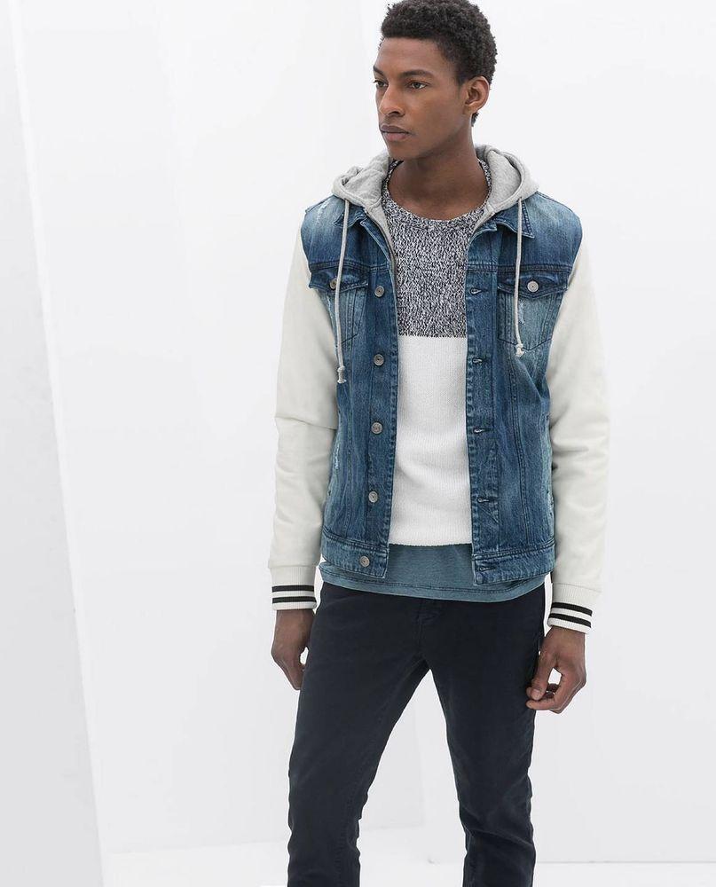 Zara Blue Denim Jacket Faux Leather Sleeves Grey Hood Genuine Bnwt 6096 431 Hooded Denim Jacket Denim Fashion Denim Jacket [ 1000 x 807 Pixel ]