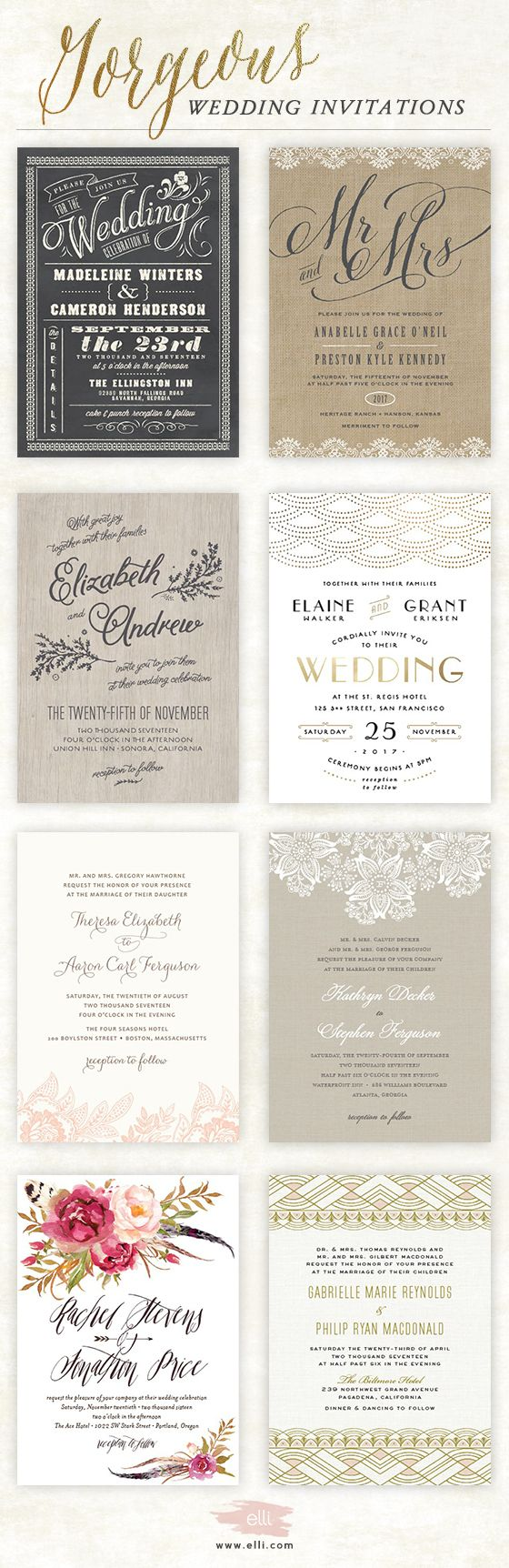 Find hundreds of gorgeous customizable wedding invitations for your