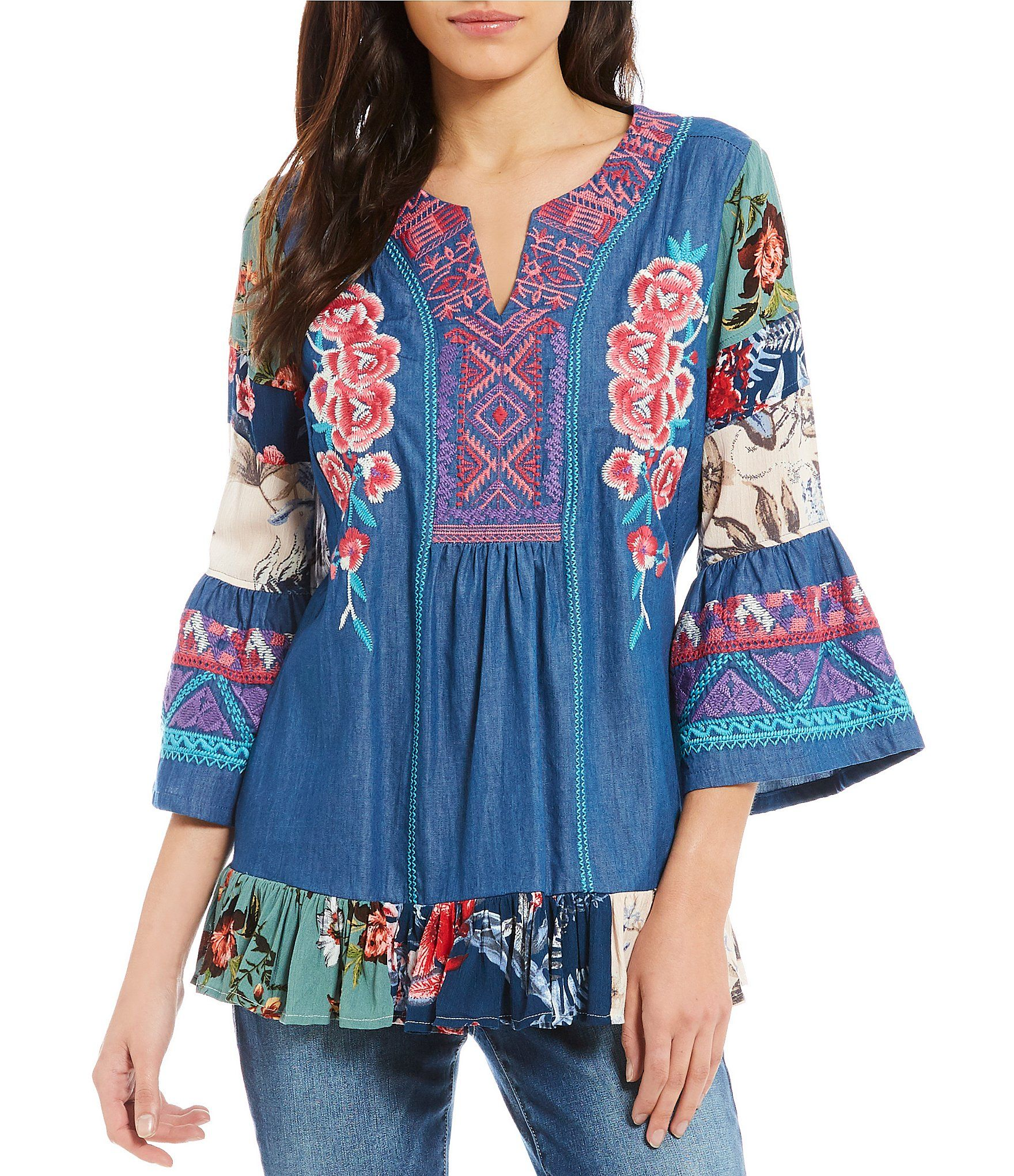 63e8c7e4426184 Shop for Calessa Rose Embroidered Bell Sleeve Split V-Neck Tunic at  Dillards.com. Visit Dillards.com to find clothing, accessories, shoes,  cosmetics & more.