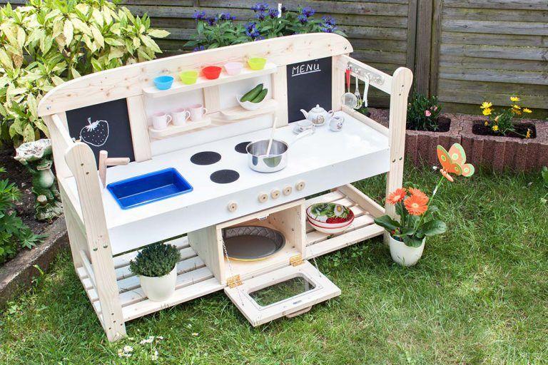 Die fertige Spielküche für Kinder Selber bauen holz