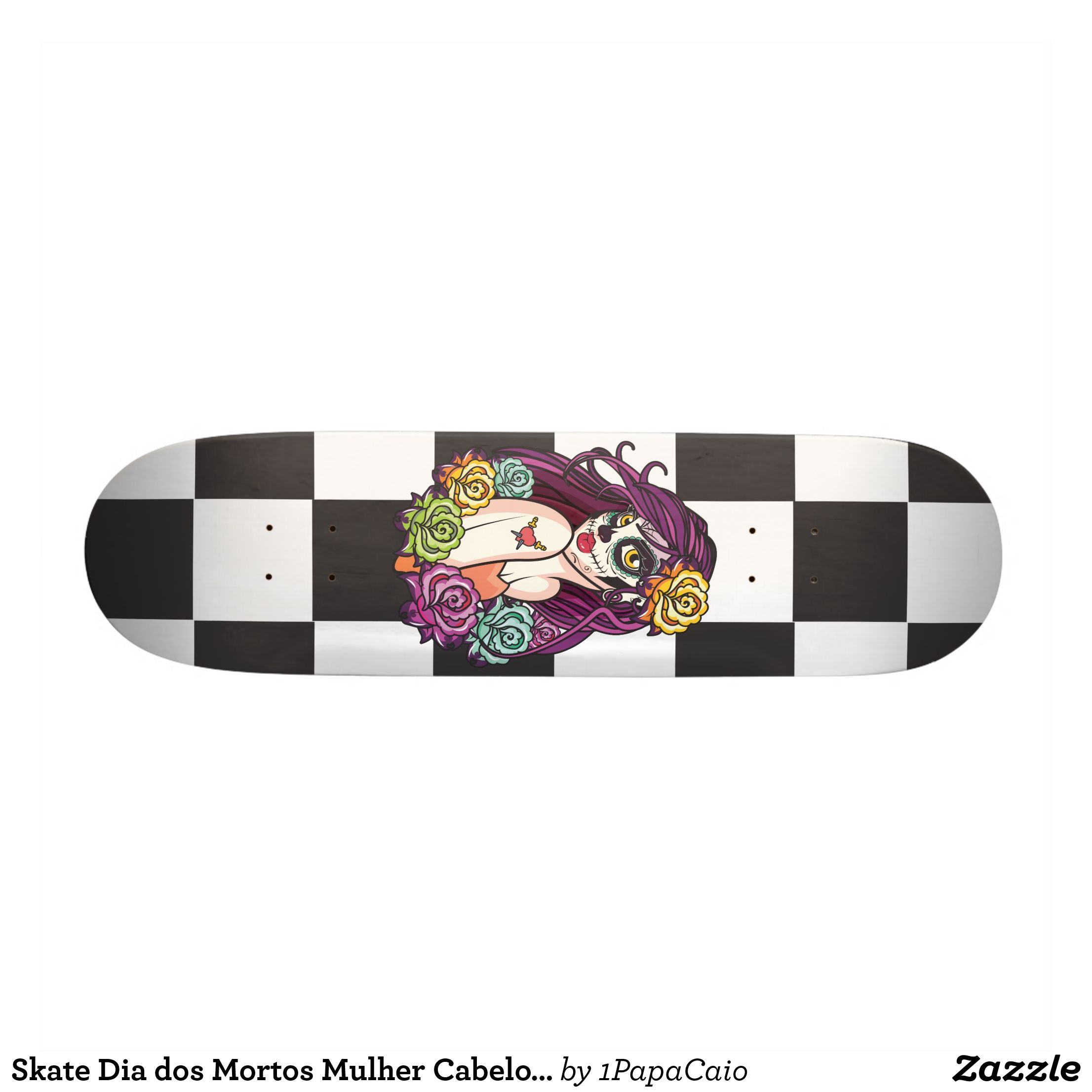 wholesale dealer 746aa a98b3 Skate Day of Dead Woman Rosa Hair Skateboard   Zazzle.com ...