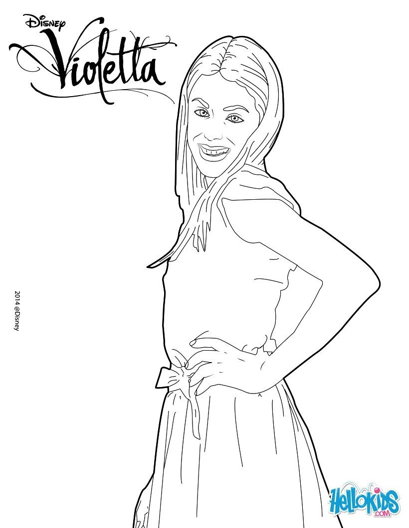 Here A Beautiful Coloring Page For All Violetta S Fan Color Violetta And Her Nice Dress More Content On Hellokids Com Coloring Pages Color Lilo And Stitch