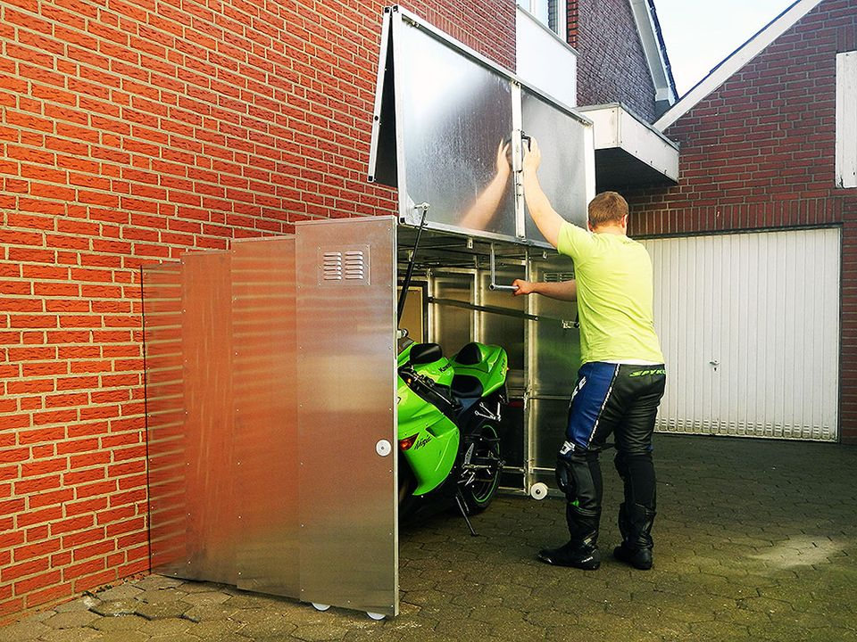Retractable motorcycle shed dual sport motorcycles for Motorcycle storage shed