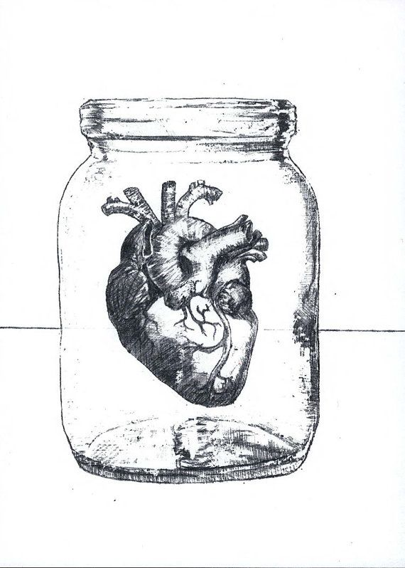 Heart Ajar - Print of Surrealist Drawing, black and white, 5 by 7 inches on  Etsy,  7.00 Heart in a mason jar   Tattoos   Pinterest   Drawings, ... 397e1c6d75
