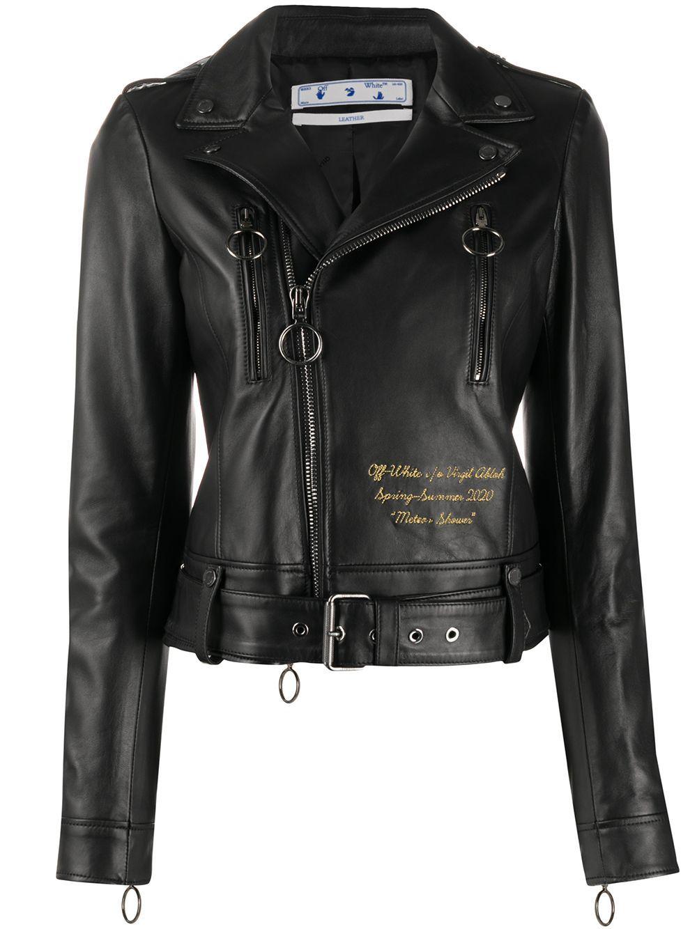 Off White Meteor Shower Biker Jacket Farfetch Biker Jacket Jackets Yellow Leather [ 1334 x 1000 Pixel ]