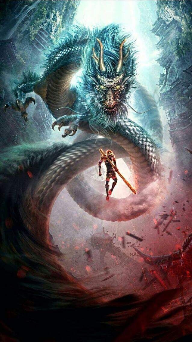 Sun Wukong Monkey King vs Dragon Nghệ thuật ảo ảnh