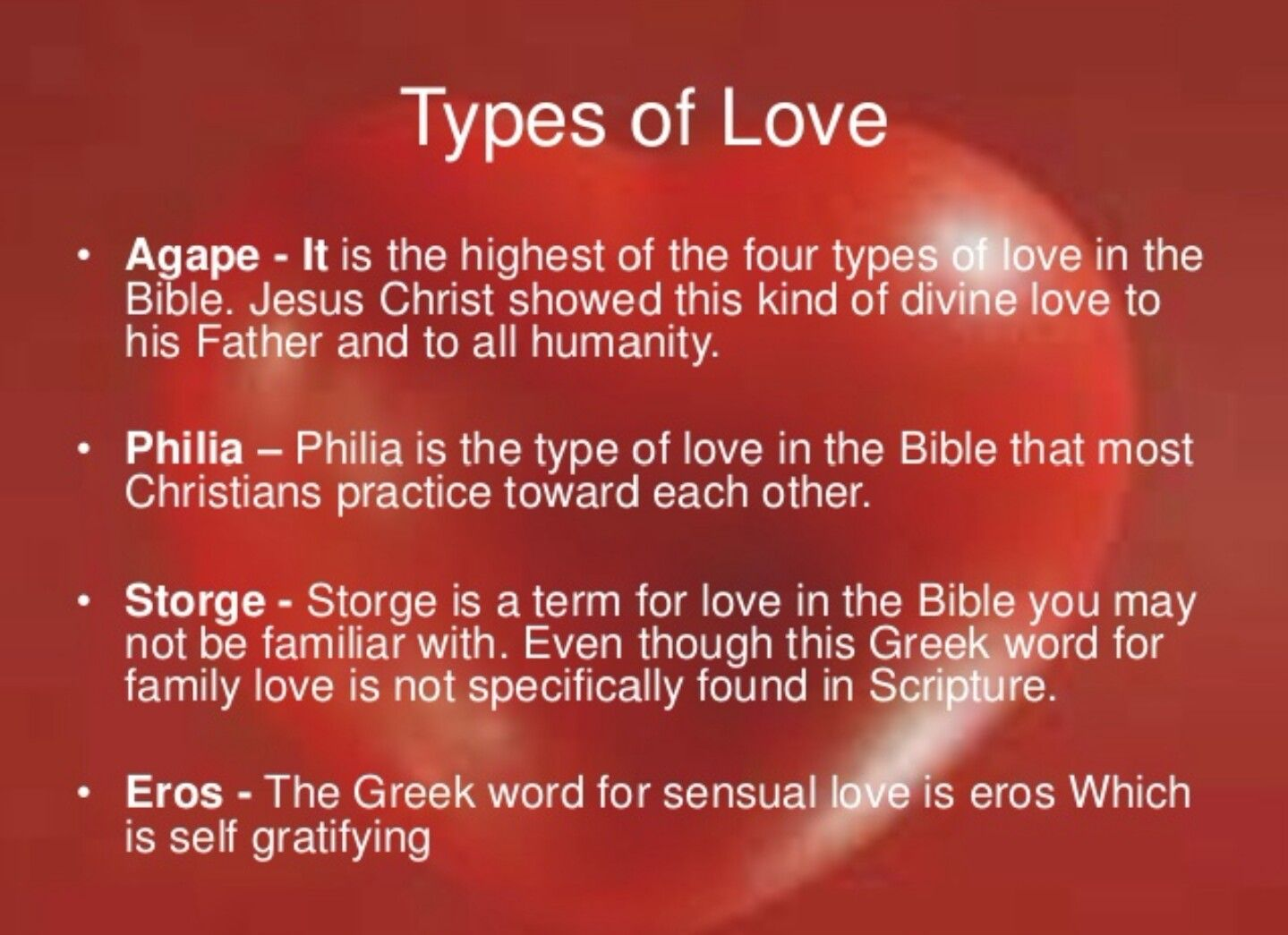 Types Of Love Agape Philia Storge Eros