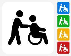 Wheelchair Caregiver Icon Flat Graphic Design Vector Art Illustration Vector Art Illustration Graphic Artist Graphic Design