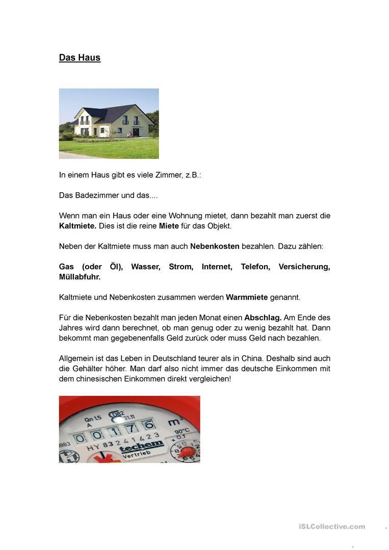 Das Haus | Teaching German | Pinterest | Schule, Deutsch und Häuschen