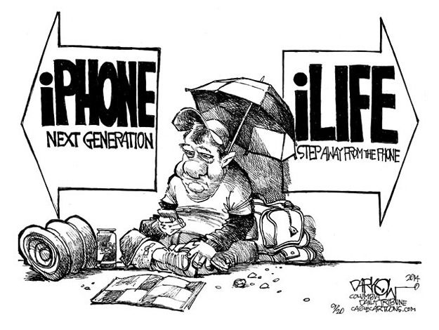 Editorial cartoon technology Apple iPhone Political and