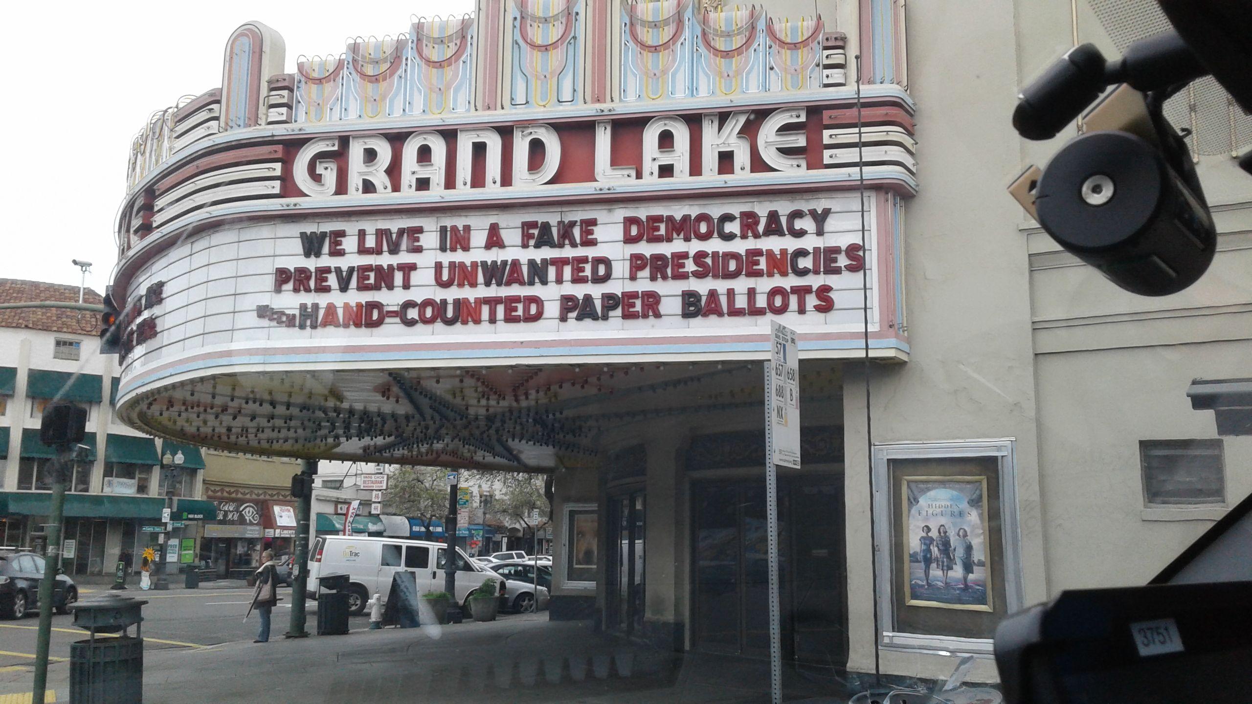 Marquee Above Lake Grand Shore Theatre in Oakland California.