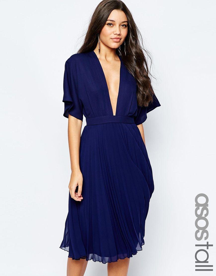 ASOS TALL Kimono Sleeve Pleated Midi Dress | We Never Go out of ...