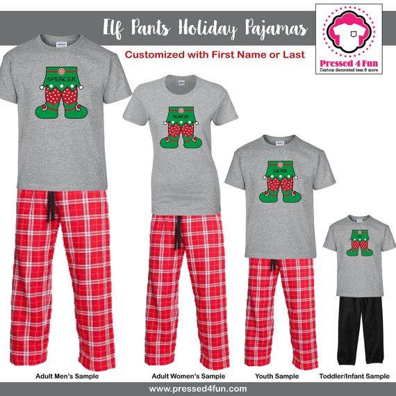 His And Hers Matching Christmas Pajamas: 2016 Holiday Pajamas Elf Feet Design