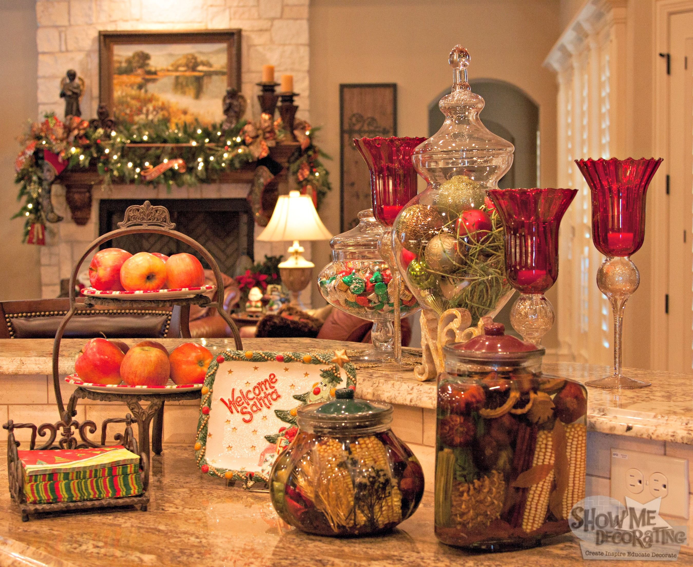 Christmas kitchen decor - Kitchen Christmas Decor Christmas Decorations Red And Green Dark Wood Floor Kitchen Ideas White
