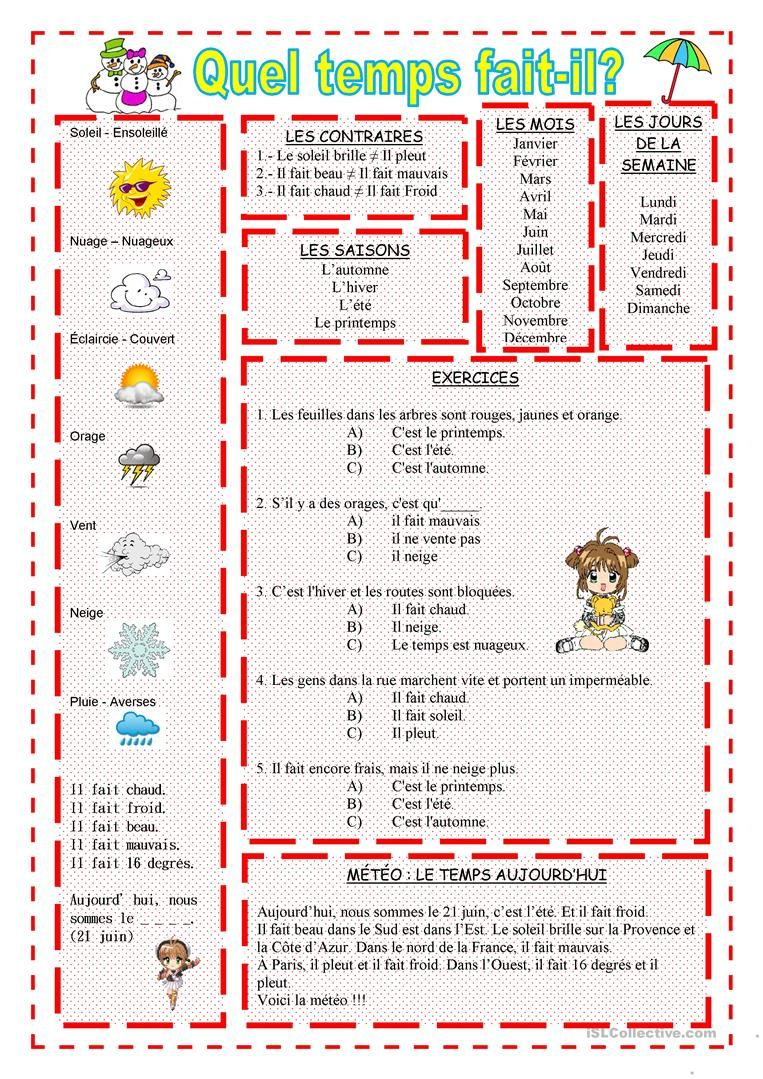 b3766cbce3fb1 La météo | French | French worksheets, French classroom, French course