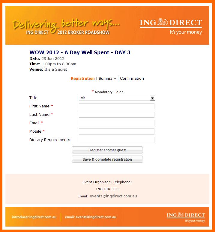 Registration Form Design for ING Direct